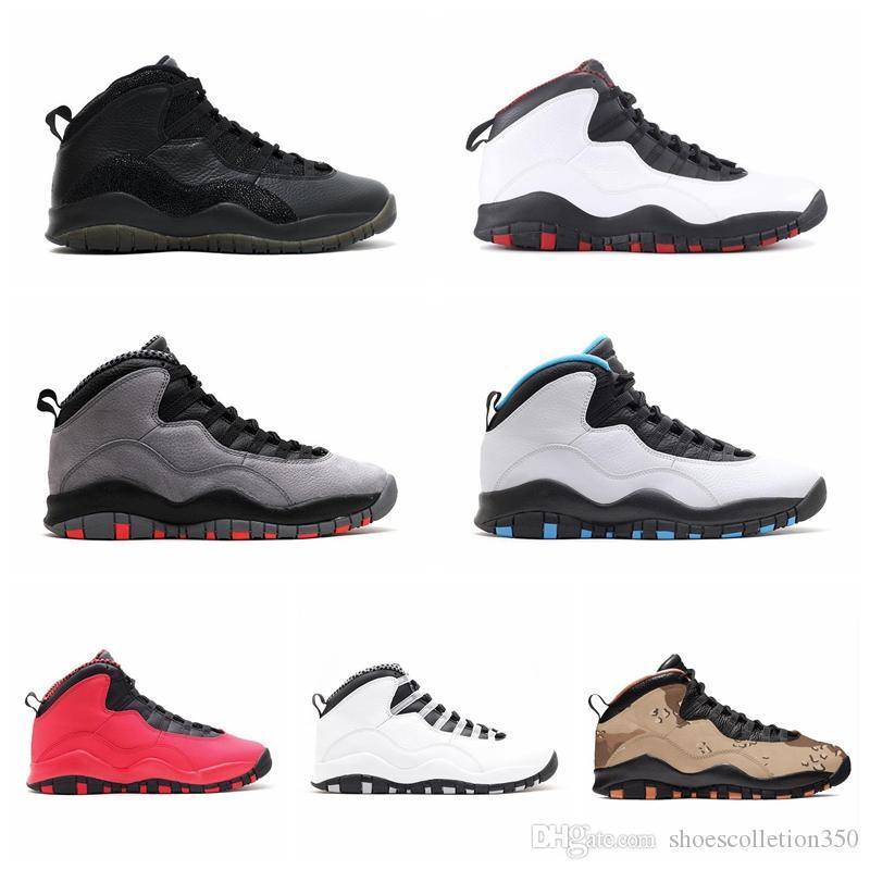 Nike Air Jordan Original AJ AJ10 Camo Pack Tênis De Basquete 10 s Deserto Woodland Cinza Fumaça Tinker Westbrook Cimento Fresco Cinza Orlando 10 Mens Esportes Tênis 7-13