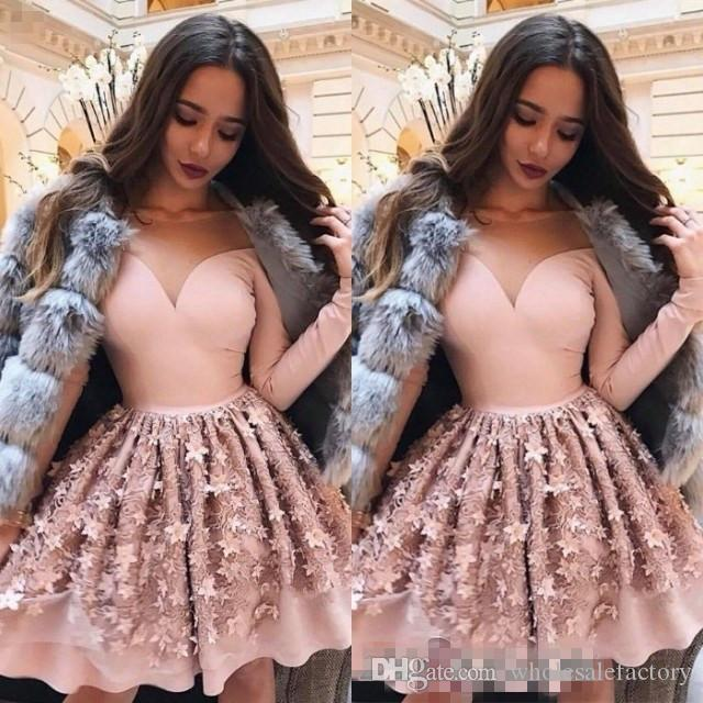 2018 Arabic 3d Floral Lace A Line Homecoming Dresses Sheer Mesh Top Long Sleeves Knee Length Short Prom Party Cocktail Dresses