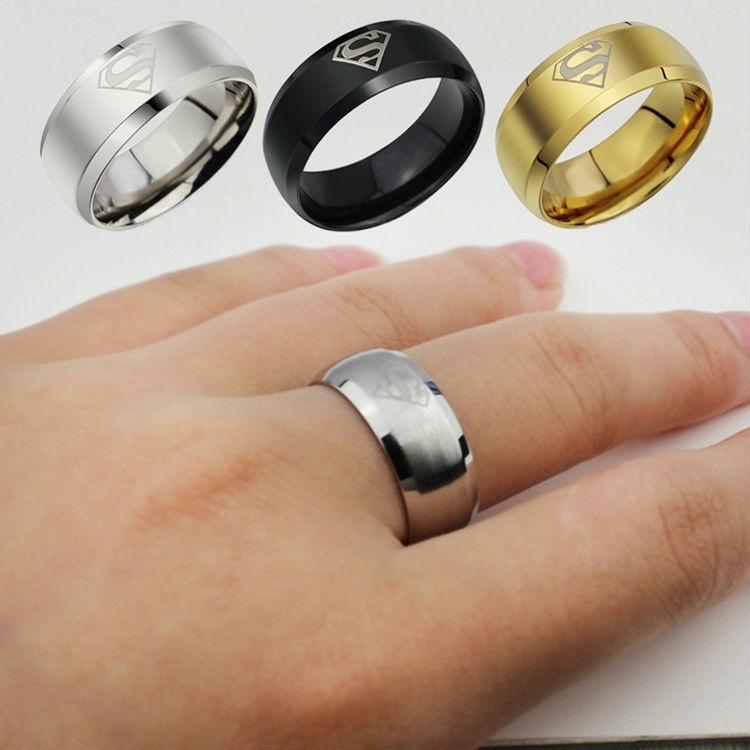 anello degli uomini anello Superman Logo anelli di barretta 3 colori d'acciaio di titanio semplice anello in acciaio inox 316 2019 gioielli di moda