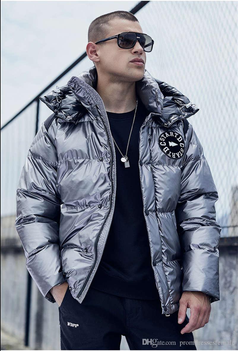 Designer Mens Down Winter Fashion Embroidery Thick Loose Coat Mens Lapel Neck Parkas