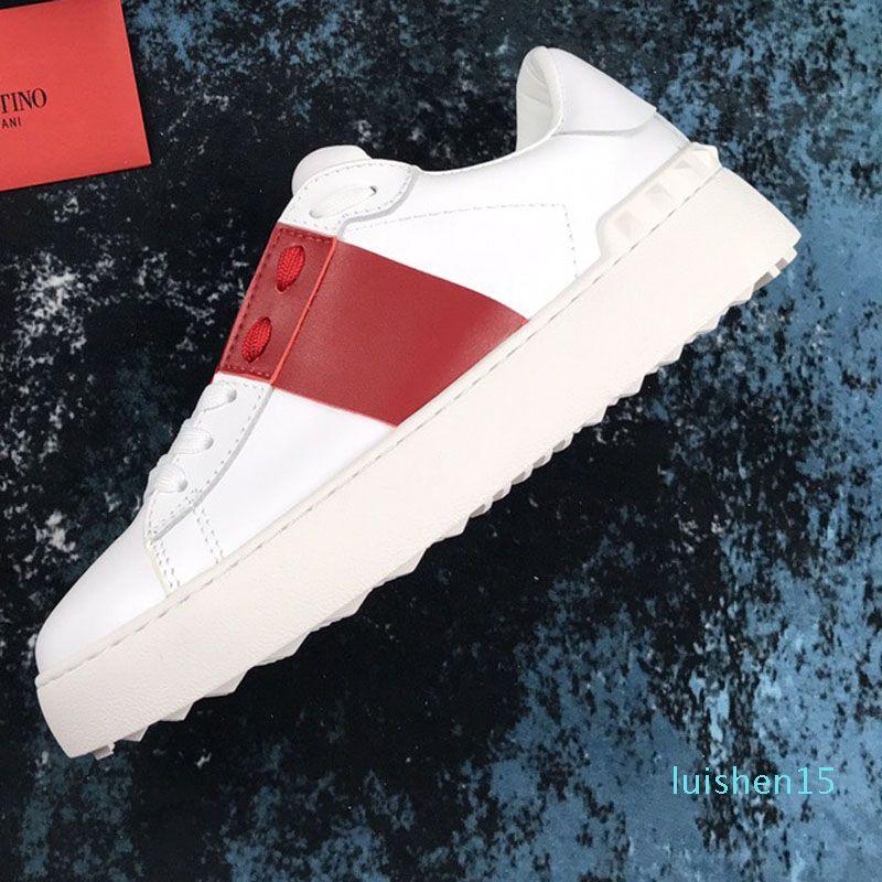 мужчины женщины моды роскошь дизайнер обуви Белый кожаный Open кроссовок с синей полосой СИН Кроссовки Кроссовки Обувь с коробкой L15