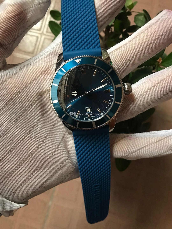 2020 slipper triple hot sale luxury blue 46mm men's watch rubber gird 2813 automatic 316 stainless steel calendar mens classic wristwatch