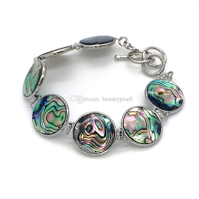 Round Paua Bracelet de chaîne Shell lien avec fermoir main Couleurs Bleu et Vert 5 Pièces