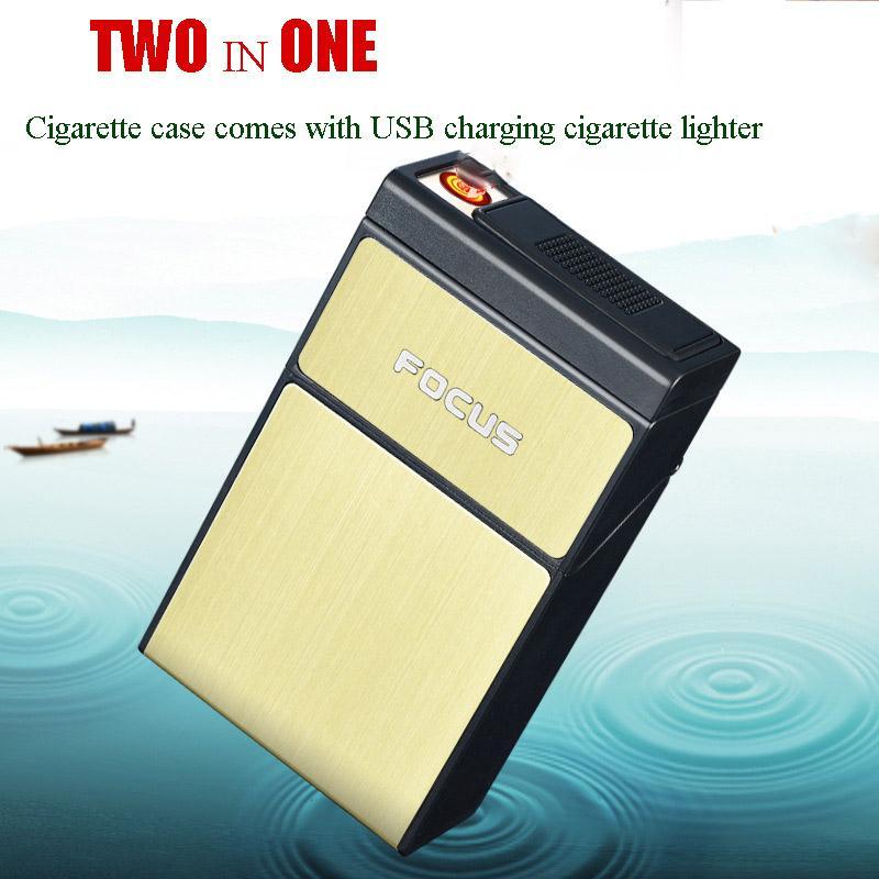 La caja de cigarrillos viene con carga USB Encendedor de cigarrillos Accesorios para fumar portátiles Encendedor electrónico