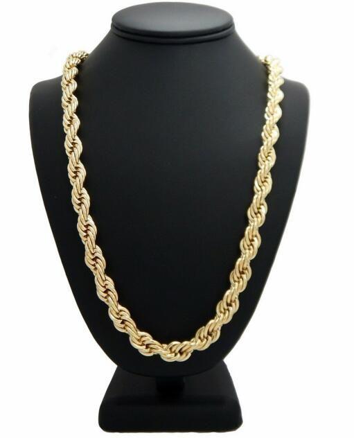 """Colar de cadeia de corda de hip hop 14k banhado a ouro 10mm 24 """"polegadas"""