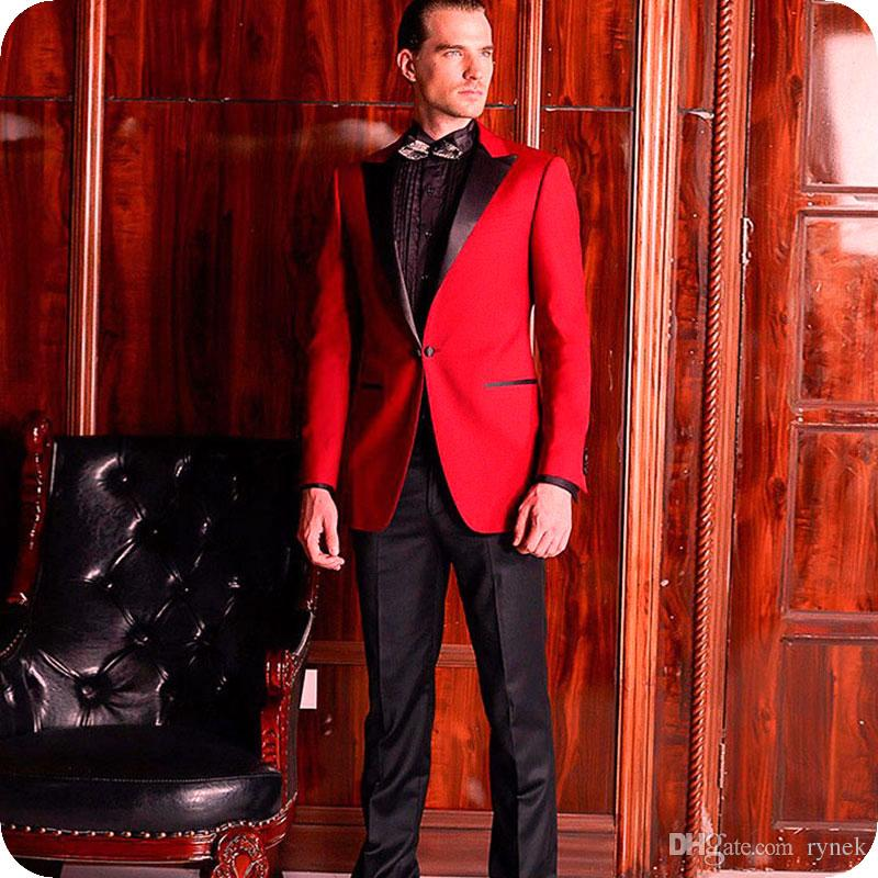 Custom Made Red Men Suits for Wedding Groom Tuxedo Black Peaked Lapel Man Blazer Jacket 2Piece Classic Fit Terno Masculino Costume Homme