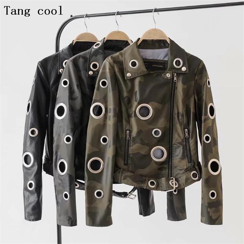 2019 зима ушко камуфляж искусственная кожа куртка женщин панк металлическое кольцо заклепки мотоцикл пальто улица черный женщины байкер куртка