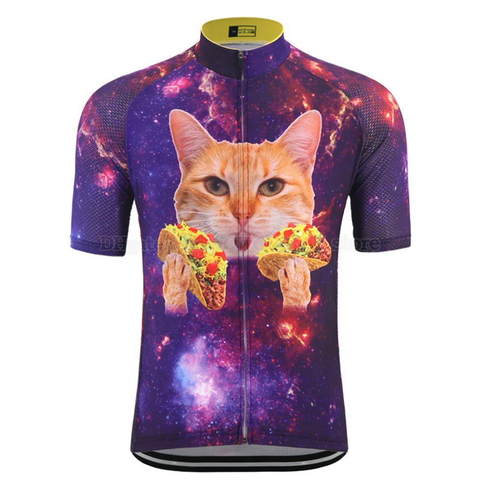 Verano divertida caricatura gato maillot de manga corta ropa de bicicleta de ruta ropa desgaste de la bici de los hombres que completan un ciclo jersey de tapas en bicicleta de montaña