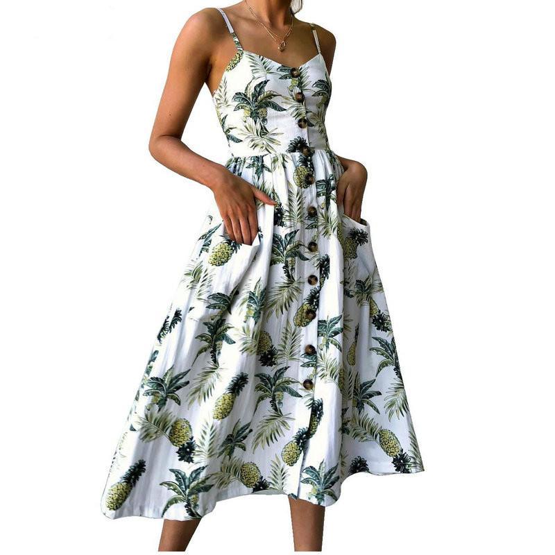 BNC Été Femmes Dress 2019 Vintage Sexy Bohème Floral Tunique Plage Robe Robe Noire Robe De Poche Robe Rouge Blanc Robe Rayée Femme Marque Ali9
