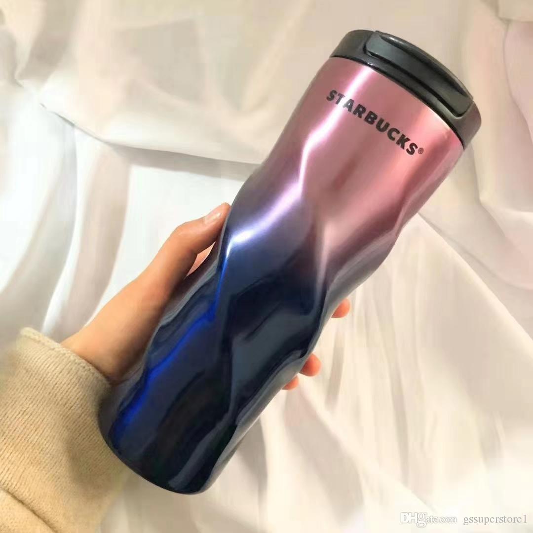 다이아몬드 로타리 컵 남성과 여성 학생 패션 스타 벅스 커버 휴대용 커피 컵과 304 스테인레스 스틸 컵 그라데이션 리본