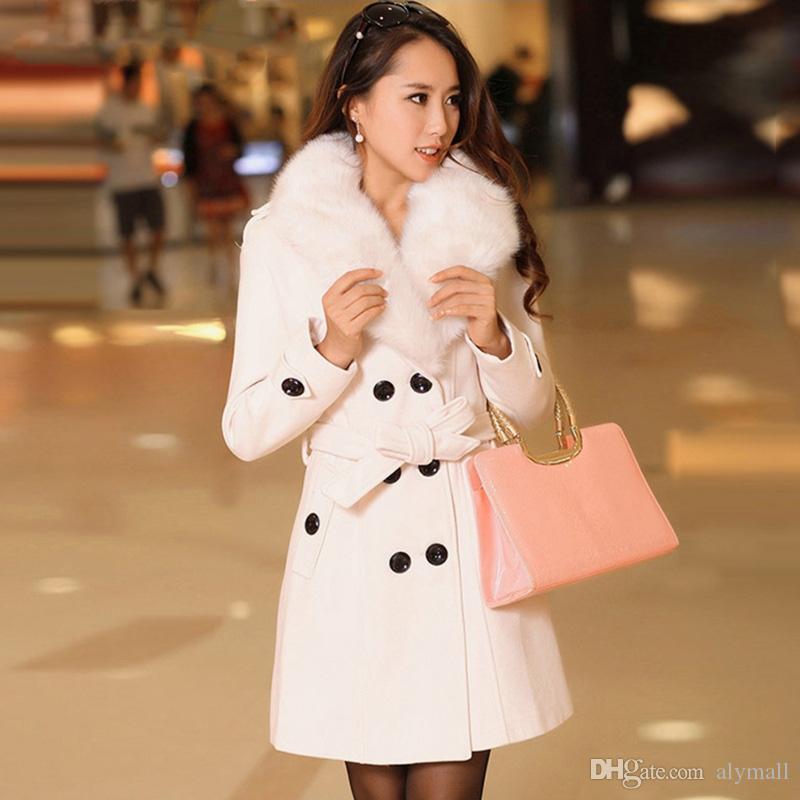 Женских искусственного мех воротник Твердых пальто Lady тонких двубортные шерстяные куртки пальто осень зима Женщина Outwear