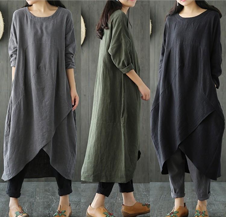 calidad zVGor 3YvJV original buena de gran tamaño nueva ropa de invierno otoño sólido de algodón de color y el vestido que adelgaza la ropa suelta de algodón de las mujeres y
