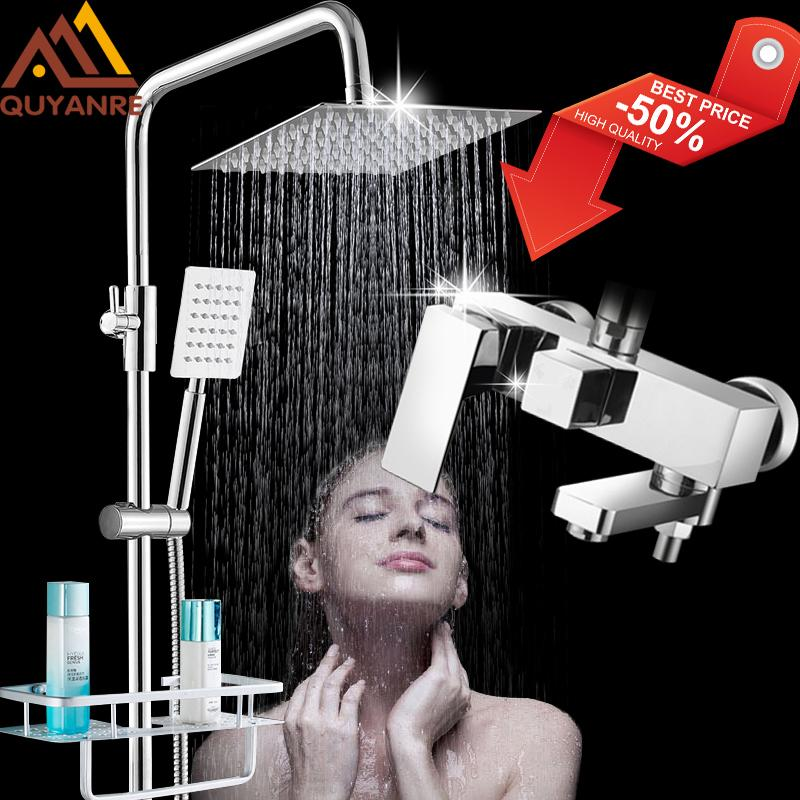 wholesale Chrome Bathroom Shower Faucets Set Bathtub Shower Mixer Tap With Hook Commodity Shelf 3-way Mixer Shower Torneira Tap