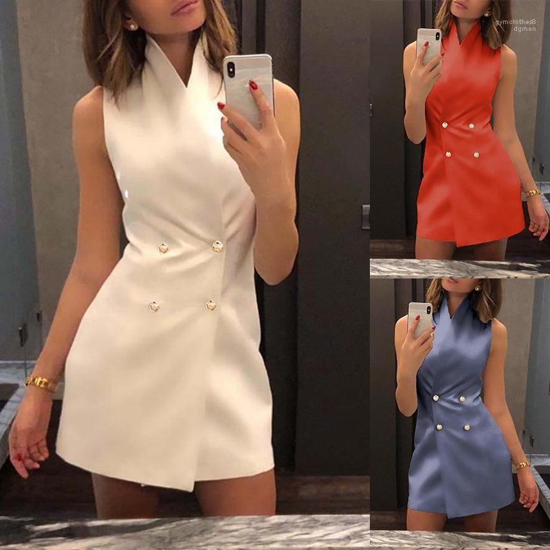 Abbigliamento donna estate una linea continua di colore abiti senza maniche sexy stand Sollar Moda Abbigliamento casual femminile