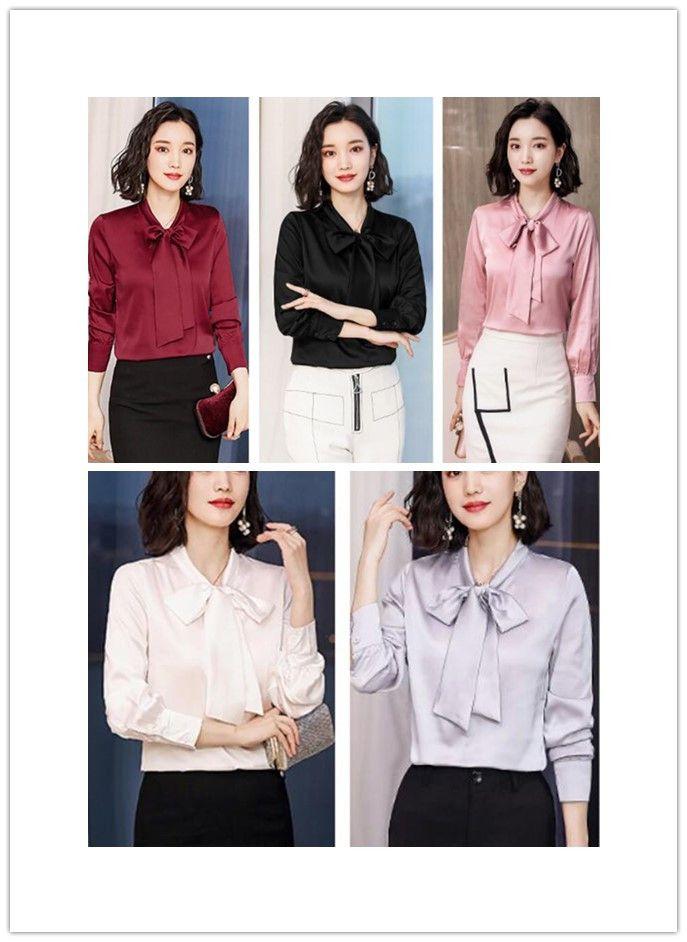 Bowtie Design OL 2019 Spring Women's elegant solid Color Blouse loose plus size Long Sleeve Tops