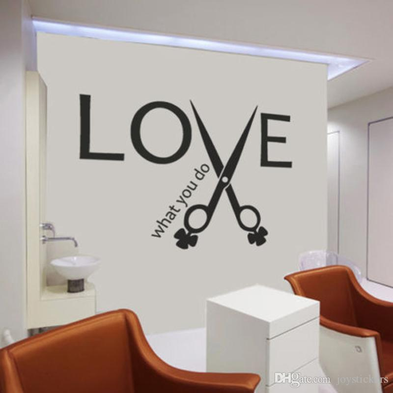 Inspiring Quotes LOVE Scissors Wall Sticker Hair Stylist Salon Quote  Barbershop Decor Wall Decal Living Room Home Decorate Wall Clings For Kids  Wall ...