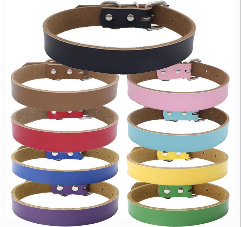 9 Farben 4 Größen High Grade Hot Reines Kuhfell Hundehalsband Echtes Leder Verdickung Hund Kette Zugseil Hundezubehör 100 stücke