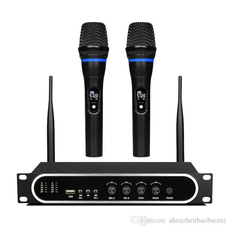 M8 Hotsale UHF Microfone de Mão Sem Fio Bluetooth com Microfone Recarregável Construir em Amplificador para sistema de cinema em casa Caixa de TV Telefone