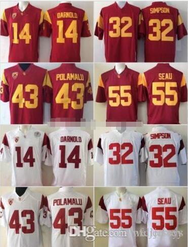 NCAA USC Trojans 14 Sam Darnold Reggie Bush JuJu Smith-Schuster Adoree' Jackson Troy Polamalu OJ Simpson Junior Seau Football Jersey