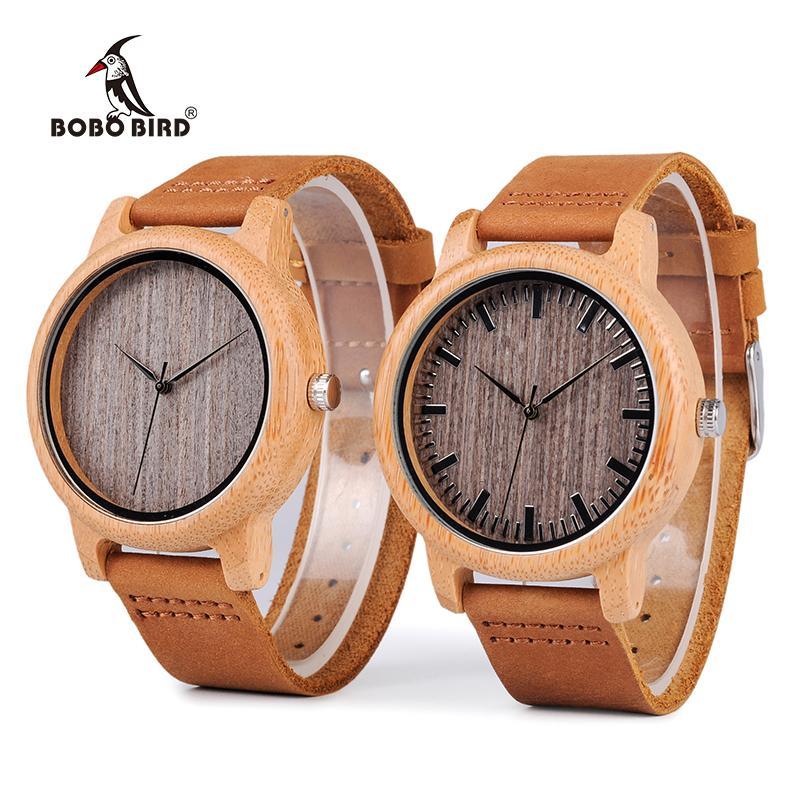 BOBO BIRD WA18L10 Jahrgang Leichte Runde Bambus Holz-Quarz-Uhren mit Lederarmbänder für Frauen-Männer Uhren Top-Marken-Design
