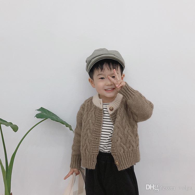 الخريف الشتاء بلون مغاير نمط الأزياء الملتوية سترة بالأزرار للأولاد الدافئة واحدة الصدر عارضة البلوزات