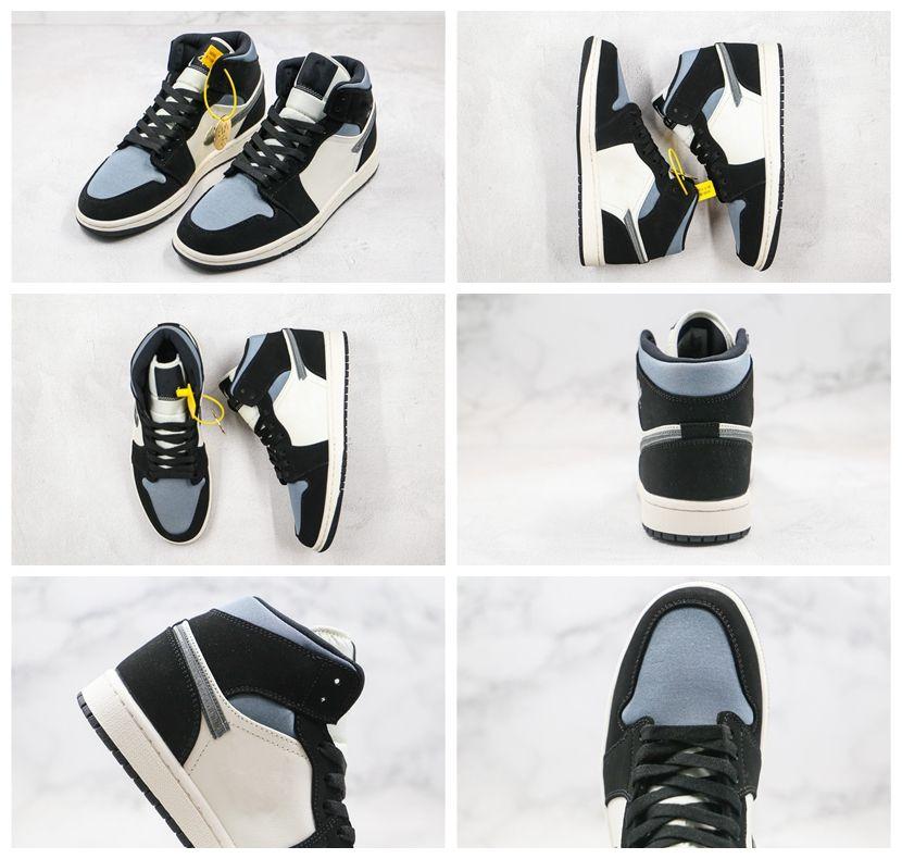 NIKE JordanNouveau 1 High OG Bred Toe chaussures de basket-ball en soie Platinum Hommes Noir et blanc bleu hommes Designer Sneakers Baskets size36-45