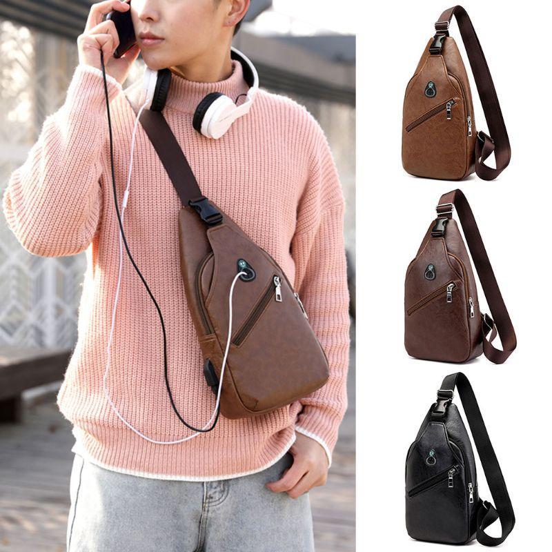 Men/'s Shoulder Bag Sling Chest Pack PU Leather USB Charging Sports Crossbody Bag