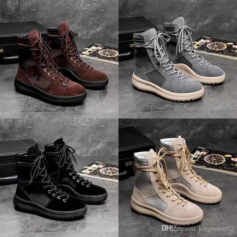 2019 hot KANYE hommes et femmes Chaussures Mode Marque bottes haute qualité Meilleure qualité Peur de Dieu Top Militaire Sneakers Hight Armée Bottes Martin Bottes