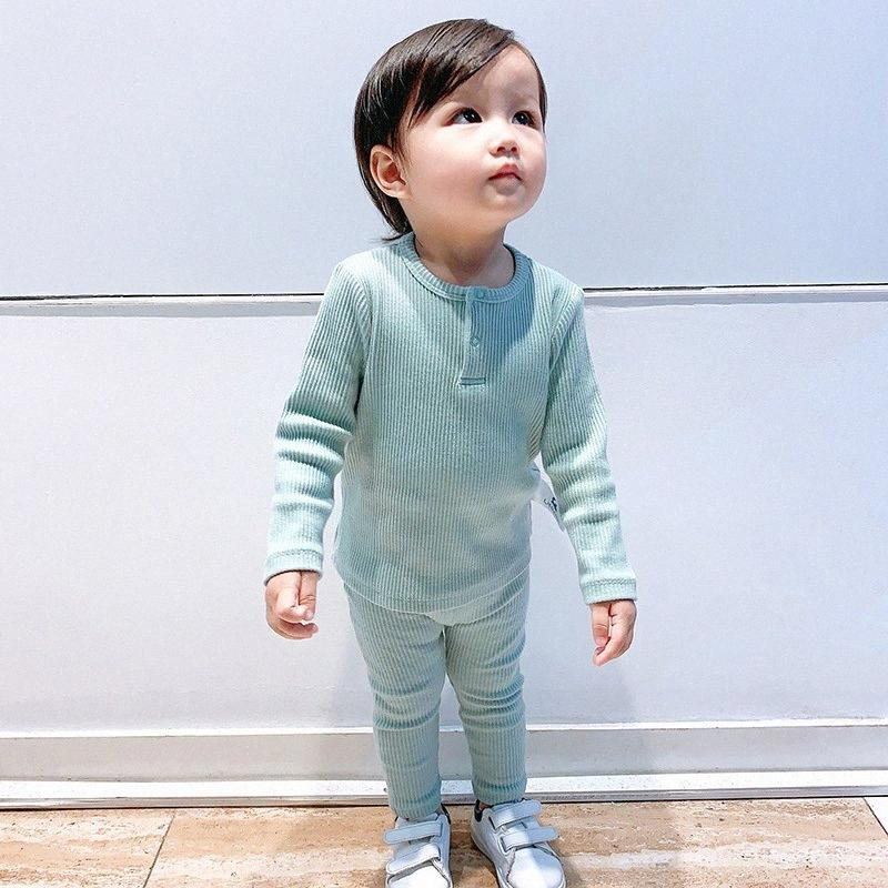 Soft Ribbed Toddler Girl Pajamas For Baby Boys Clothes Set Autumn Winter Children Outfits Long Sleeve Tops Pants 2 Pcs Kids Suit QZCm#