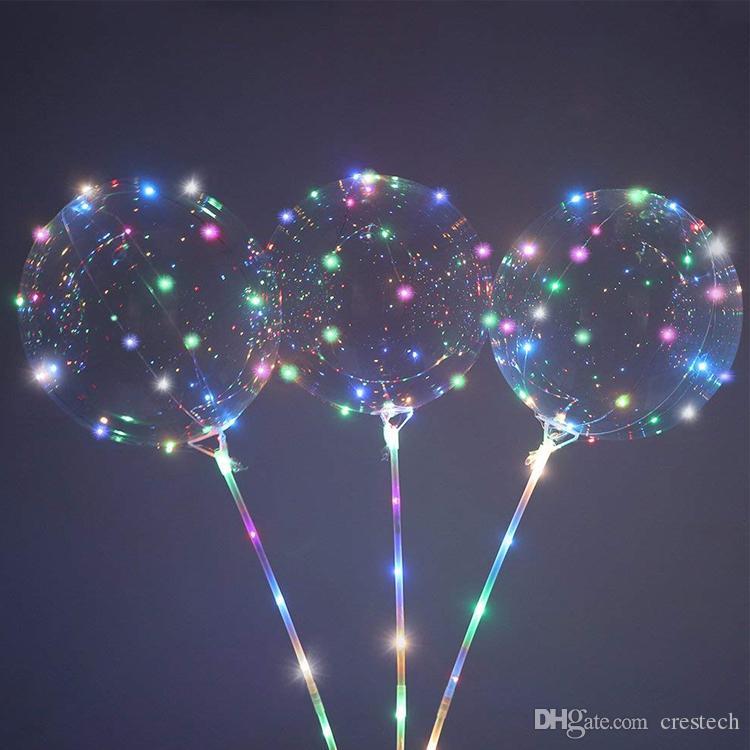 ballon Light Led BoBo Ballons, 20 pouces Ballons à l'hélium Transparent avec Guirlandes LED, lumière des ballons pour l'anniversaire
