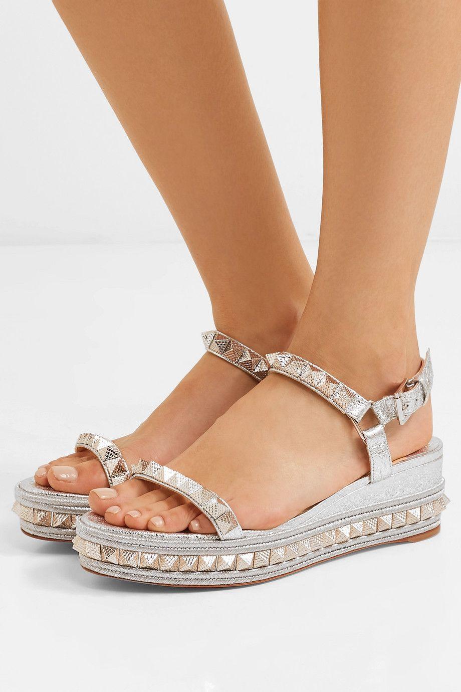 Heißer verkauf- roten boden sommer sandalen pyraclou versetzt metallic frauen keil sandalen high heels knöchelriemen nieten slingback eur 35-42
