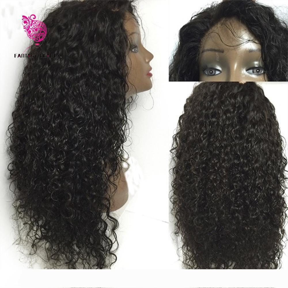 7A Mongolian Kinky Curly Wig Virgin Human Hair Kinky Curly Full Lace Wig Glueless Human Hair Lace Front Wigs With Baby Hair
