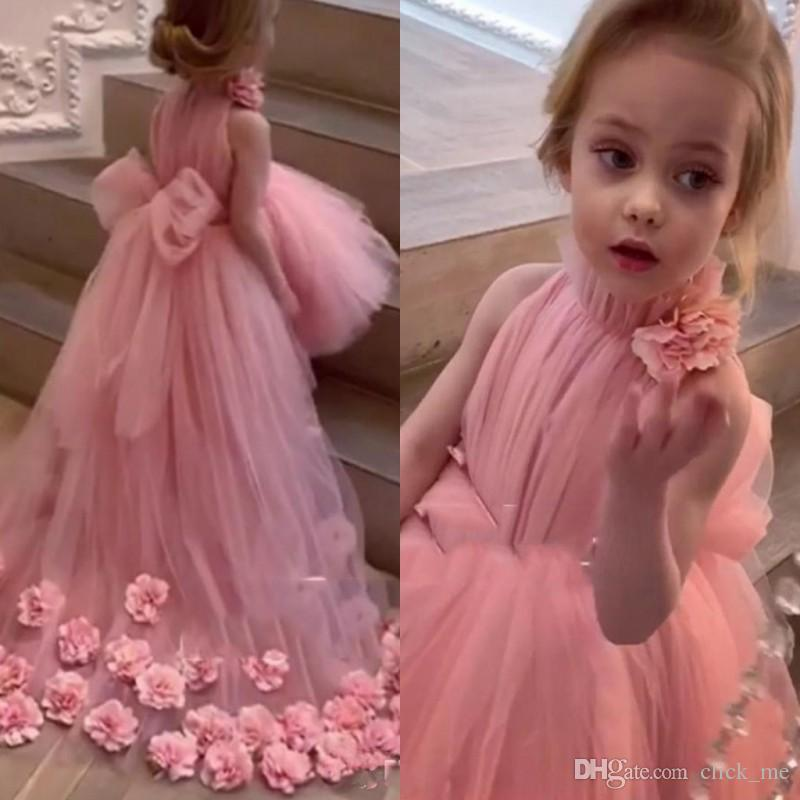 High Low Flower Girl Dresses for Weddings High Neck Handmade 3D Floral Applique Girls Pageant Gowns Back Bow Tulle First Communion Dress
