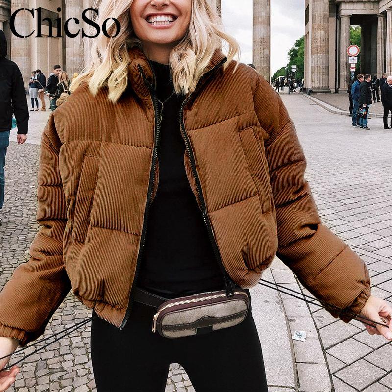 MissyChilli повседневная вниз куртка Куртка женщин пальто зима женский хаки уличная короткое пальто снег носить теплый вельвет outerwear2019 V191025