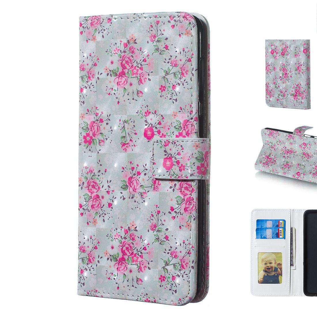 Belle 3D Trois Dimensions Rose Fleur Conception Mobile Phone Protector Case Cover avec Portefeuille Fente Pour Carte Cadre Photo