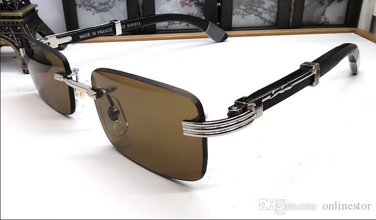 Moda Sports Madeira Óculos de sol das mulheres dos homens sem aro dos óculos de sol atitude chifre de búfalo Óculos de madeira de bambu Sun Glasses Frames Lunettes