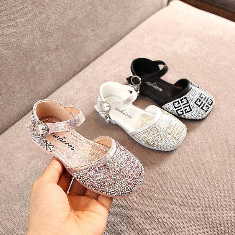 2020 nuevos zapatos de niña niñas de diamantes de imitación zapatos de niño princesa de la moda niño zapatos del niño sandalias de las muchachas de las sandalias de las sandalias del bebé B550 menor