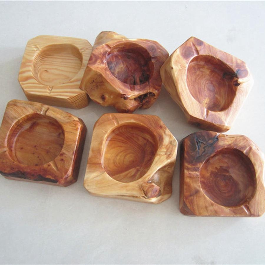 Creativo de madera redonda Ceniceros Brown clásico Ash titular de bolsillo Inicio del cenicero del coche Moda Hombre Accesorios de fumar TTA1919