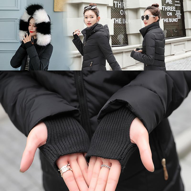 GZGOG 2019 nouveau coton chaud épais Veste hiver de femme rembourré court col de fourrure chapeau manteau de neige veste gants amovible parkas