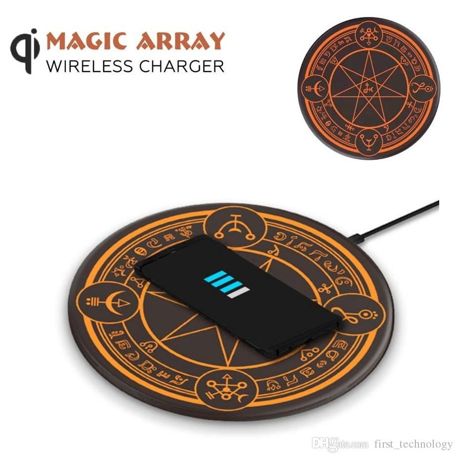 Magic Array Lighting 10W Qi Wireless Charger Magic Circle Mobile Phone Charging Pad for iPhone Samsung Huawei (Retail)
