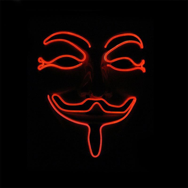 هالوين الصمام مضيئة ثأر EL قناع توهج لدور لعب الحزب مبتسم الوجه مضحك قناع أحمر أزرق أخضر
