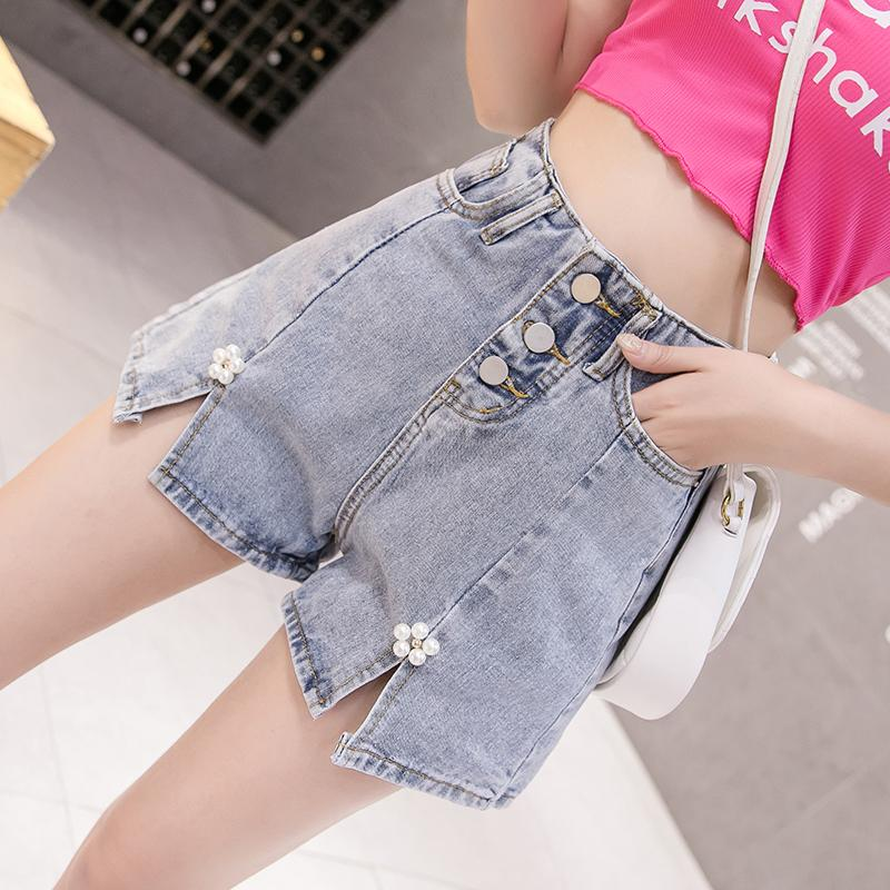 Beaded Denim Shorts Women's Summer New 2020 Korean-style Breasted High Waist Was Thin Wide-leg Pants Net Red Fashion Hot Pants