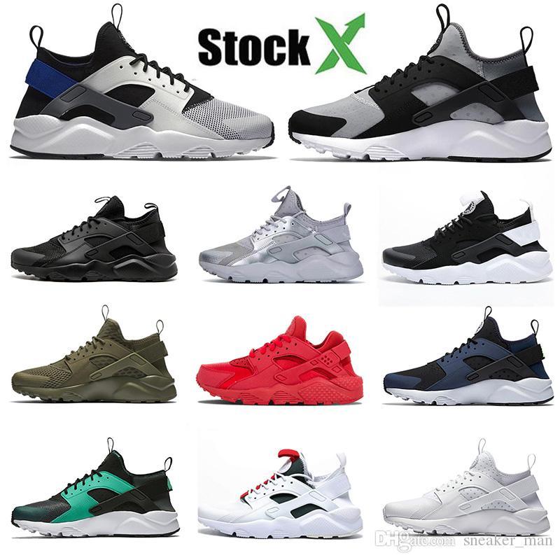 2020 Nike Air Huarache 4 1 حذاء الجري كلاسيك الترا هاراتشز أوريو تريبل وايت أوليف أخضر أسود دوت سانس تينت سبورتس سنيكرز