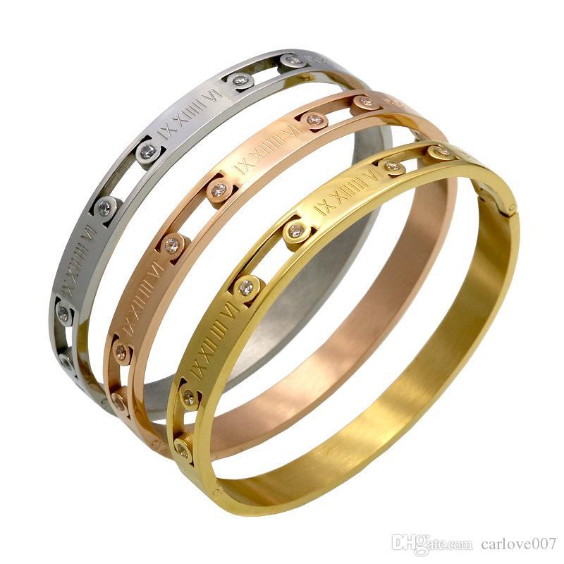 Nova marca de moda de luxo algarismos romanos Set trado amante mulheres Cartão de aço pulseira de titânio fivela charme pulseira