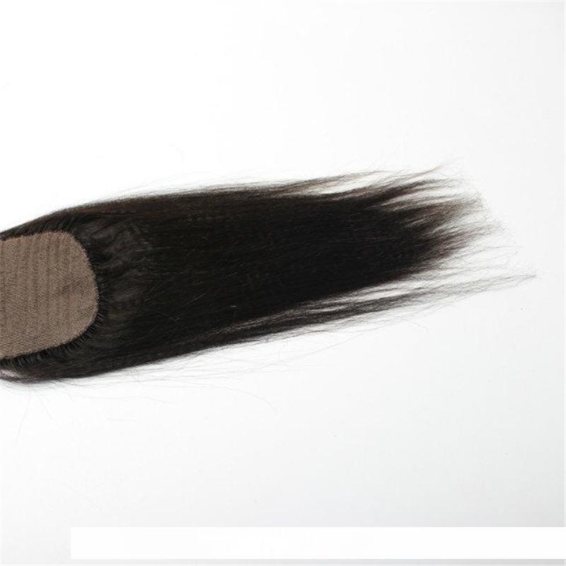 Pre Plucked Silk Base Coarse Yaki Kinky Straight 4 &#039 ;&#039 ;X 4 &#039 ;&#039 ;Top Closure Slightly Bleached Knots Brazilian Hair