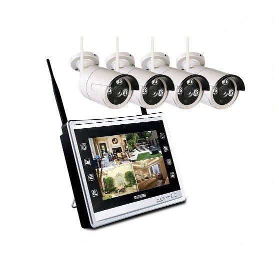 Cámara 4CH 720P 12 '' LCD Monitor inalámbrico NVR CCTV Sistema de seguridad H.265 WiFi 4 canales Juego de vigilancia Plug and play
