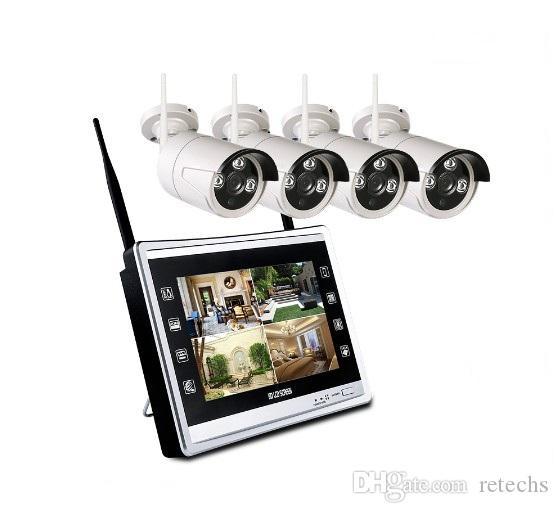 4 canales 720P cámara 12 '' LCD sistema de monitor inalámbrico NVR de seguridad CCTV H.265 WiFi 4 canales Plug and conjunto de vigilancia juego