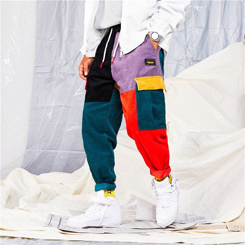 Hip Pantalons couleur Vintage Bloc Patchwork Corduroy Cargo Harem Pantalon Jogger Pantalon coton pantalon