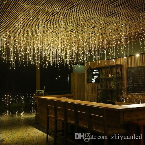 New Year LED Curtain Icicle String Lights 5m 16.4ft Droop 96Led Fairy Garland Light For Christmas Outdoor Decoration