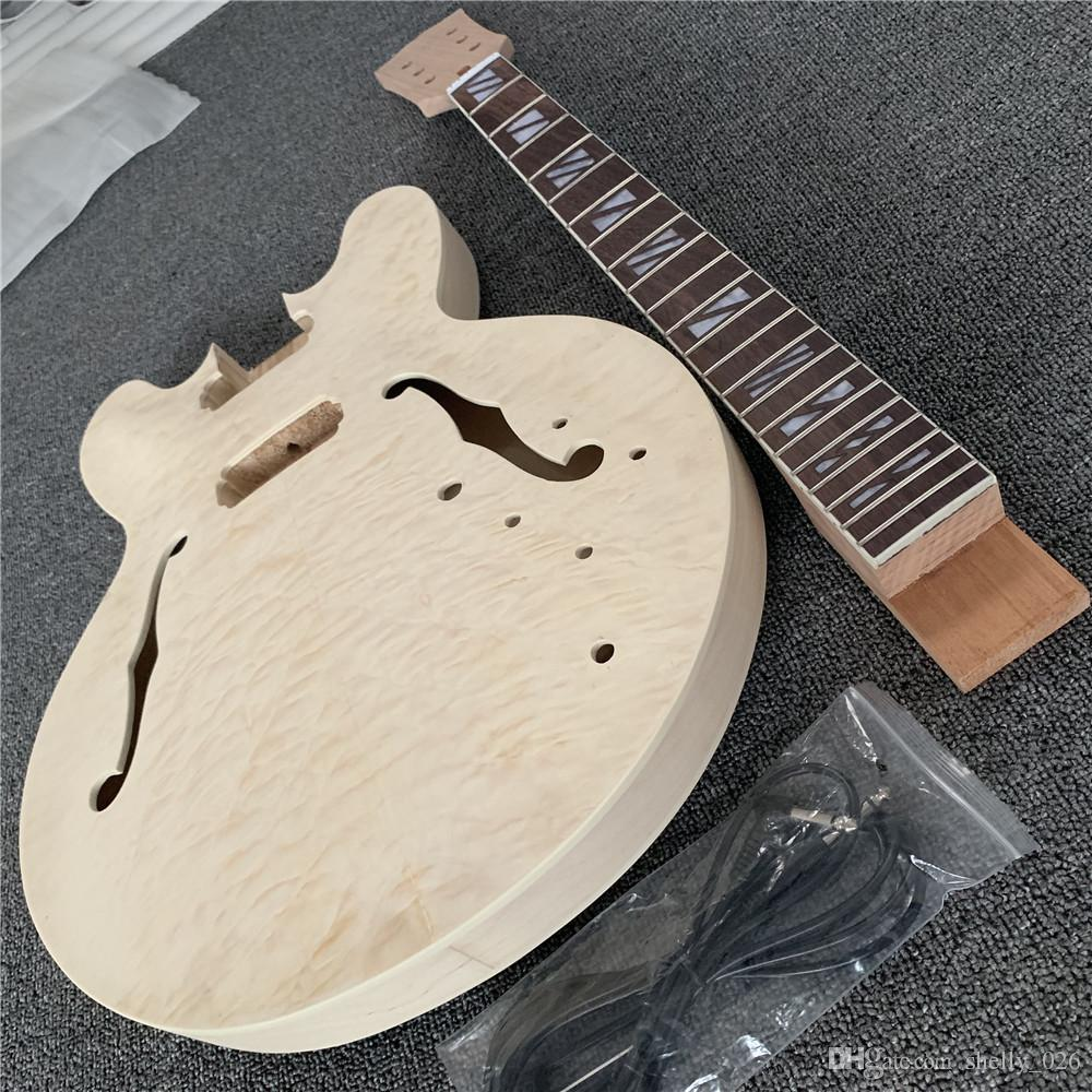 In Stock Unfinished Jazz Electric Guitar Kit w/ F holes w/ Quilted Maple Top, semi hollow body, DIY guitar, Without guitar parts